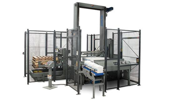 Palletizer for cases, trays or totes features low level construction